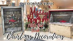 LITTLE RED TRUCK | DIY DOLLAR TREE CHRISTMAS DECOR Christmas Craft Fair, Dollar Tree Christmas, Christmas Frames, Christmas Projects, Christmas Things, Rustic Christmas, Christmas Nails, Christmas Ideas, Dollar Tree Decor