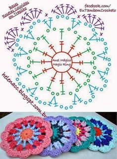52 Ideas Crochet Mandala Diagram Charts For 2019 Crochet Mandala Pattern, Crochet Circles, Crochet Blocks, Crochet Flower Patterns, Crochet Diagram, Crochet Chart, Crochet Squares, Crochet Flowers, Crochet Stitches