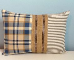 Farmhouse pillow cover. Rustic. Blue Plaid. by sterlingstitchery