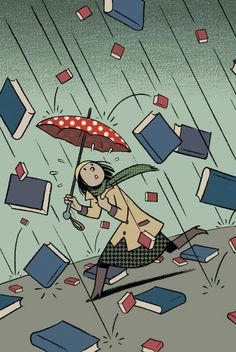 It's Raining Books,   illustration by Francesc Capdevila aka MAX (Cartoonist, Spain)