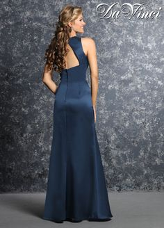 DaVinci Bridesmaids Style 60240 Satin mermaid style gown has a v-neckline that extends into an open cut out back.