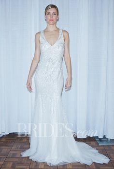 "Brides.com: Rosa Clará - Fall 2014. ""Ulema"" sleeveless beaded sheath wedding dress with v-neckline and low, criss-crossed back, Rosa Clará"