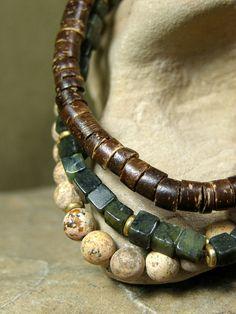 Mens Bracelet Set  Beaded Bracelet  Mans by StoneWearDesigns