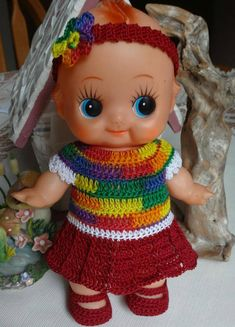 Crochet clothes for 8 inch Kewpie Rubber baby doll Dress Drop