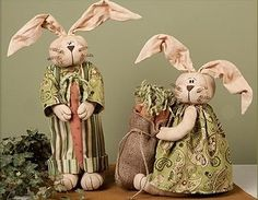 Primitive Country Vintage Honey /& Me Spring //Easter Large Fabric FAT BUNNY NEW!