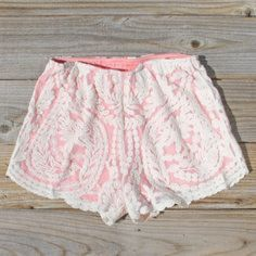 Coral Lace Shorts by spool.72 Elastic waist - coral shorts with lace overlay - they look small to me i would say size 10 max. They are adorable and priced to sell.  - new Spool 72 Shorts