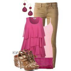 Color combo 4: pink, fuschia & tan