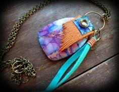 Hippie Boho necklace. long tassel necklace large jasper
