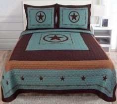 Western Star Barbed Wire King Size Quilt and Shams 3pc Set Turquoise Blue GoCowgirl http://www.amazon.com/dp/B00NAKIIVK/ref=cm_sw_r_pi_dp_-Hapwb1127NKD