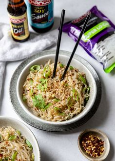 The BEST noodles, ever. Put this recipe to the test. An absolute favourite. Quick, easy and fantastic. Coriander Leaves, Fresh Coriander, Fresh Ginger, Asian Recipes, Ethnic Recipes, Chilli Flakes, Oyster Sauce, Rice Vinegar, Fresh Green