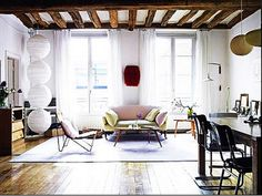 updated (Vanessa Bruno's Paris living room and dining room, Elle Decor)