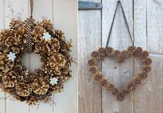 19.deco-pomme-de-pin-couronne                                                                                                                                                                                 Plus Diy Christmas Gifts, Christmas Wreaths, Christmas Decorations, Xmas, Pine Cone Crafts, Wreath Crafts, Creative Crafts, Diy And Crafts, Egg Carton Crafts