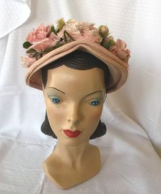 1940's Vintage Pink Hat with Roses by Roberts. $70.00, via Etsy.