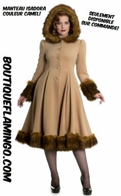 The Isadora Coat (renamed from Elvira) by Hell Bunny is a stunning statement coat, that suits the pinup and vintage style perfectly. Kawaii Fashion, Retro Fashion, Vintage Fashion, Fashion Fashion, Fur Trim Coat, Coats For Women, Clothes For Women, Bunny Outfit, Vintage Wardrobe