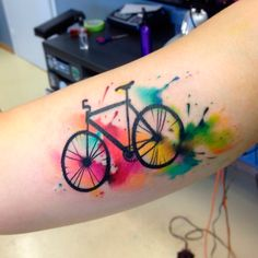 Bike Tattoos That Every Cyclist Must See - M. tattoo Awesome Bike Tattoos That Every Cyclist Must See - MporaAwesome Bike Tattoos That Every Cyclist Must See - M. tattoo Awesome Bike Tattoos That Every Cyclist Must See - Mpora Cycling Tattoo, Bicycle Tattoo, Bike Tattoos, Forearm Tattoos, New Tattoos, Body Art Tattoos, Women's Cycling, Cycling Jerseys, Hand Tattoos