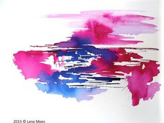 Pink Abstract Watercolor Landscape Painting