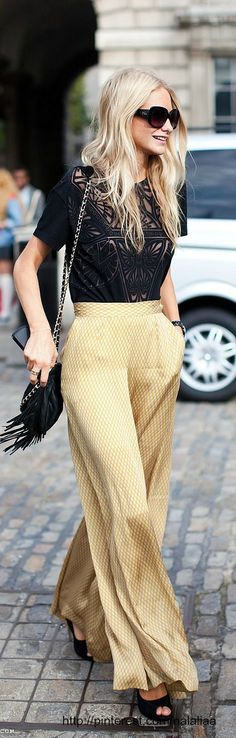 • high waisted palazzo pants + sheer top + heels