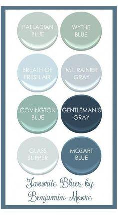Benjamin Moore Beach Glass, Palladian Blue Benjamin Moore, Benjamin Moore Bedroom, Benjamin Moore Paint, Glass Slipper Benjamin Moore, Benjamin Moore Woodlawn Blue, Blue Green Paints, Blue Gray Paint, Blue Paint Colors