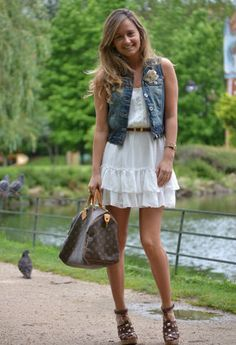 Lace dress + denim vest