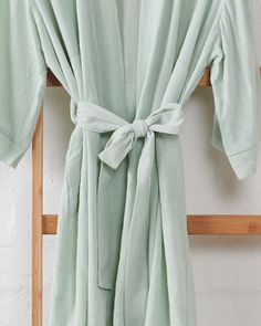 """Jade and May on Instagram: """"Textured cotton kimono bathrobe in the most beautiful baby mint green 💚"""""""