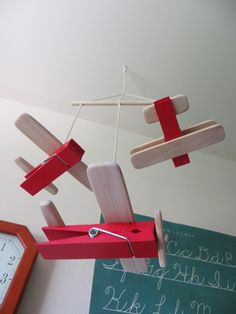The Project Lady: DIY Wooden Clothespin Airplane Toys or Baby Mobile