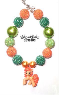 ORANGE BLOSSOM My little pony necklace chunky necklace bubblegum necklace girls necklace birthday necklace boutique necklace