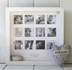 Personalised My First Year Square Frame  A beautiful personalised photo frame to capture your baby's first year. This beautiful frame is perfect for a Christening or birth gift. It has a simple yet elegant design and the neutral white colour will fit in with any decor. It has twelve square windows for your photographs to sit in, and a box at the bottom that can be personalised with a message or simply with the birth band of the child. It can be hung on the wall or left free standing.