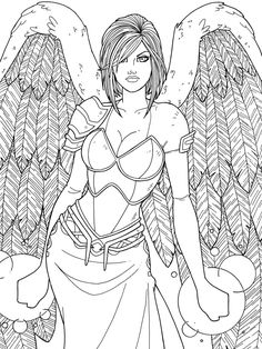 NIKE IX - commission by JamieFayX @ DeviantArt Angel Fantasy Myth Mythical Legend Wings Warrior Valkyrie Anjos Goth Gothic Coloring pages colouring adult detailed advanced printable Kleuren voor volwassenen coloriage pour adulte anti-stress kleurplaat voor volwassenen