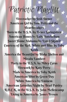 A collection of 15 Patriotic songs that are sure to be a hit for your summer parties. Summer Playlist, Song Playlist, Playlist Ideas, Country Music Playlist, Country Songs, 4th Of July Celebration, Fourth Of July, Country Drinking Songs, Road Trip Music