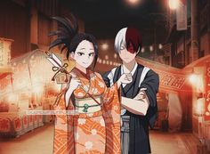 """bigbadwf: """"""""Shouto and Momo come at the summer festival """" """""""