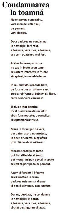 Adrian Paunescu Poezii - Condamnarea la toamana Nostalgia