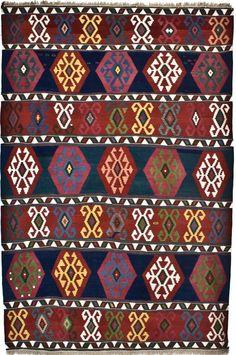 Shah Sevan Kilim, handwoven tribal rug – Caucasus, circa 1900.