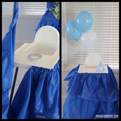 Easy way to decorate a Highchair for a cake smash.