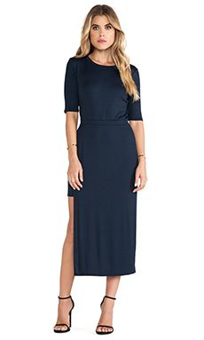 Heather High Slit Midi Dress in Onyx   REVOLVE