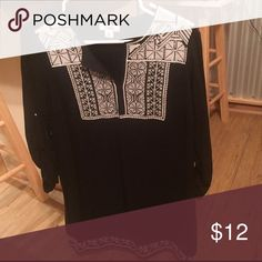 Cato Dress 3/4 Sleeve Black &White embroidered dress! Worn only a few times--- extremely comfortable Cato Dresses Long Sleeve
