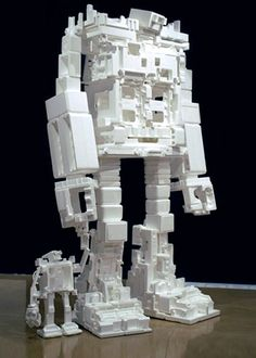 @makedo Amazing!! What to do with styrofoam packaging waste? Make giant Styrofoam robots! By Michael Salter