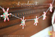 DIY Craft- Strawburst Garland - paper straws, baker's twine, Christmas