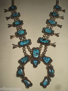 Ancient NAVAJO Huge Heavy SQUASH BLOSSOM NECKLACE Morenci Turquoise VINTAGE