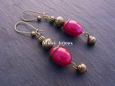 boucles d'oreilles bohème pierre naturelles racines de rubis : Boucles d'oreille par lilicat