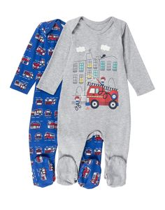 'Fire Engine' Cotton Sleepsuits