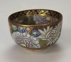 "Oriental Japanese Satsuma Thousand Flower Miniature Bowl - measures approximately 1⅛"" in height by 1⅞"" in diameter."