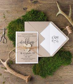 Rustic wedding invitations set of 20 – a unique product by 4lovepolkadots. Via en.DaWanda.com.