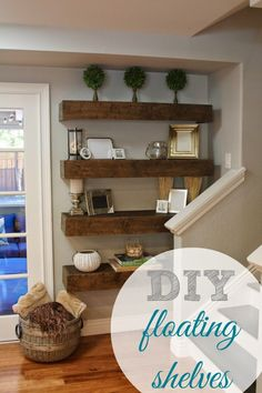Love these shelves on wall between back doors and kitchen window
