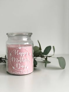 "B A B Y P I N K C A N D L E  A beautifully smelling pink rhubarb and pear candle with up to 95 hours burn time presented in a glass jar with a lid. A lovely gift for a special lady.  P E R S O N A L I S A T I O N  ""Happy Mother's Day Love from Name"" The wording can be completely personalised to your"