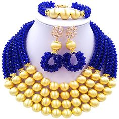 laanc 3 Layer 18inch Womens African Bead Necklace Bracelet Earrings Nigeria Wedding Jewelry Set