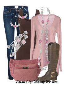 feat. Premier Designs jewelry #pdstyle pink cardigan, brown tank, pink bag, brown boots