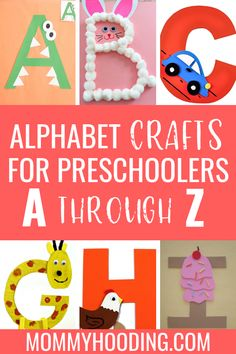Are you teaching letters to your toddler or preschooler? Teach them letter recognition, letter sounds and more with these fun letter of the week crafts and letter activities! Make learning the alphabet fun with these alphabet crafts! Alphabet Letter Crafts, Preschool Letters, Preschool Activities, Teaching Toddlers Letters, Crafts For Letter A, Teaching Toddlers Abc, Letter Sound Activities, Craft Letters, Abc Crafts