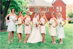 pastel bridesmaid dresses - pink blue yellow meagan and kevin | married | tea party wedding indianapolis photographer angel canary