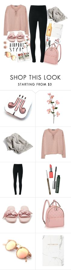 """""""bethany"""" by goldcouture ❤ liked on Polyvore featuring PhunkeeTree, MANGO, Givenchy, Clinique, Puma, Monica Vinader, Pink and airportstyle"""