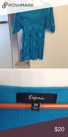 Teal glitter express tunic Super cute glitter teal tunic and smoke free Express Tops Tunics